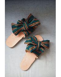 Brother Vellies Burkina Slides - Verde Stripe - Black
