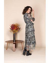 Rene' Derhy Echelle Chiffon Print Shirt Dress - Black