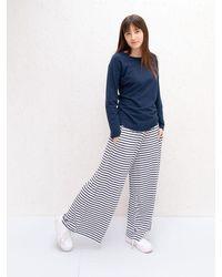 Chalk Navy Striped Luna Trousers - Blue