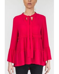 Sfizio Shirt With Bell Sleeves - Red