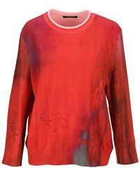 Undercover Panneled Sweater - Red