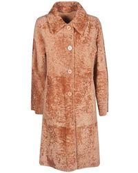 DROMe Women's Dpd5644b225 Beige Leather Coat - Brown
