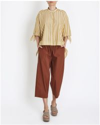 Erika Cavallini Semi Couture - Striped Shortsleeved Shirt In Beige - Lyst