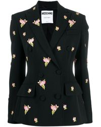 Moschino Floral Embroidery Double-breasted Blazer - Black