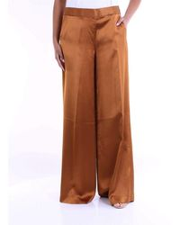PT01 Beige Viscose Trousers - Brown