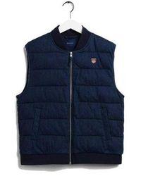 GANT Padded Denim Vest Colour: Mid Worn In - Blue
