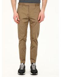 PT01 Slim Fit Beige Cotton Pants - Natural