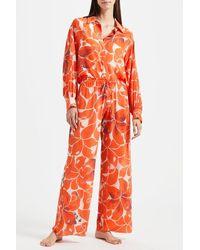 Kalmar Celia Blouson Sleeve Hibiscus Shirt - Orange