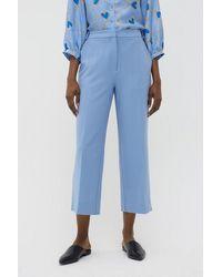 Chinti & Parker Chinti & Parker Wool Twill Cropped Pants - Sky - Blue