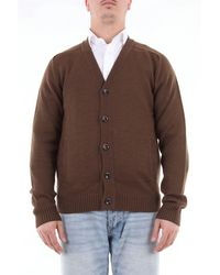 Paolo Pecora Solid Color Cardigan In Virgin Wool - Brown
