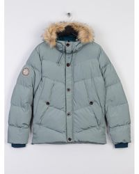 Pretty Green - Quilted Hooded Jacket Blue - Lyst