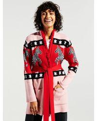 Hayley Menzies Carousel Cotton Jacquard Cardigan - Red
