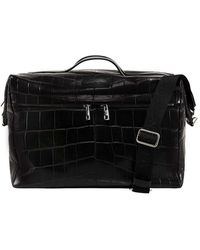 Alexander McQueen Leather Duffle Bag With Crocodile Effect - Black