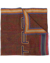 Etro Pegaso-print Knitted Scarf - Brown