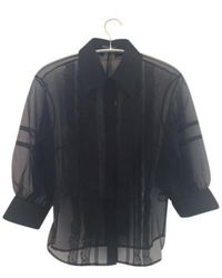Markus Lupfer Sheer Lace Organza Effie Blouse - Black