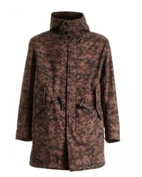 Dondup Camouflage Parka Featuring Hood - Brown