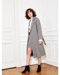 Suncoo Eden Houndstooth Check Trench Coat - Gray
