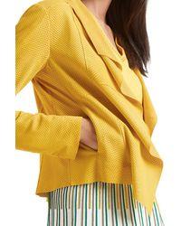 Marc Cain Saffron Yellow Goatskin Leather Jacket