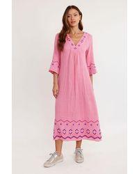 Aspiga Ali Embroidered Organic Cotton Dress | - Pink