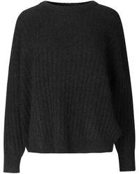 Second Female Brooky Knit Open Back O-neck - Black