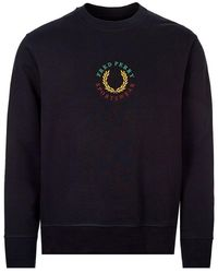Fred Perry M8602 Embroidered Sweatshirt - Black
