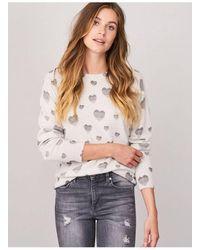 Repeat Cashmere Repeat Heart Sweater In Cream - Natural