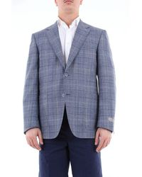 Canali Single Breasted Prince Of Wales Jacket - Blue