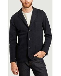 Hartford Boiled Wool Blazer Jacket Navy - Blue