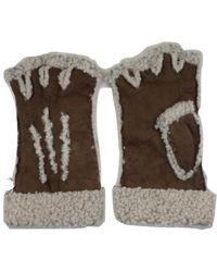 Maison Fabre Larzac Sheepskin Leather Mittens Gloves - Brown