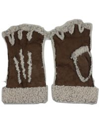 Maison Fabre Larzac Sheepskin Leather Mittens Gloves - Brown