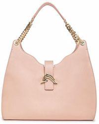 Thale Blanc Empire Cheetah Hobo Bag: Designer Shoulder Bag In Nude-pink Leather