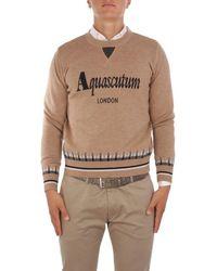 Aquascutum Men's Qmcswe1l0qm00710 Brown Wool Sweater