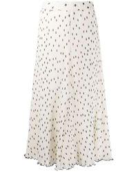 Ganni Midi Skirt Pois - White
