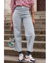 Lee Jeans Wide Leg Hickory Stripe Jeans - Blue