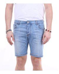 Entre Amis Men's P2089601343l463jeans Blue Cotton Shorts