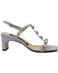 Sergio Rossi Women's A88500mfn4248198 Silver Leather Sandals - Metallic