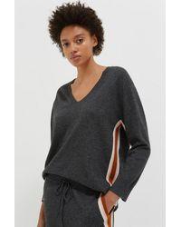 Chinti & Parker Chinti & Parker Heritage Stripe Wool Cashmere Sweater - Gray