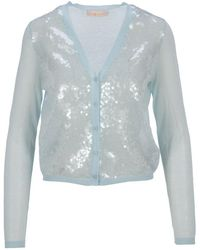 Tory Burch Simone Sequined Cardigan - Blue