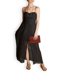 MASSCOB Lucia Ruched Linen-blend Maxi Dress - Black
