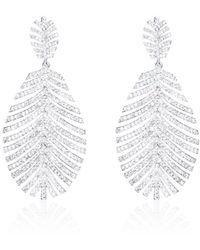 Thale Blanc Palm Swarovski Earrings - Metallic