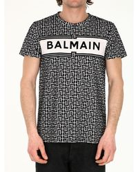 Balmain Bicolor Monogram And Logo Print Cotton T-shirt - Black
