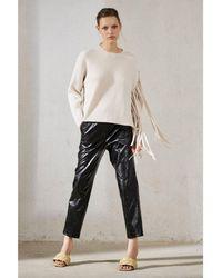 Luisa Cerano Fringe Detail Ribbed Sweater - White