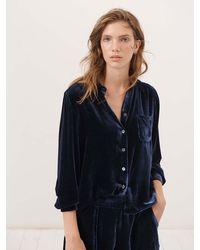 Nrby Pattie Velvet Button Thru Shirt - Blue