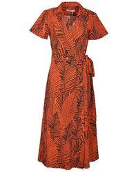 0039 Italy Havana Maxi Wrap Shirt Dress - Orange