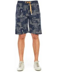 White Sand Short With Print - Blue