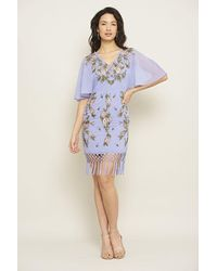 Frock and Frill Kyla Floral Embroidered Dress With Fringing - Purple