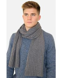 Gran Sasso Men's 13164 Cable Knit Woven Scarf - Blue