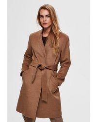 SELECTED Mella Wool Coat Tigers Eye - Brown