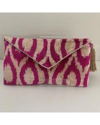 Yunion T Aggie Mid Pink, Natural Cotton Velvet Ikat Clutch Bag