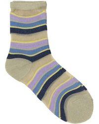 Becksöndergaard - Dagmar Multi Stripe Sock In Violet Tulip - Lyst